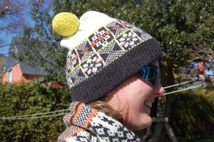 Fairisle scarf and bobble hat